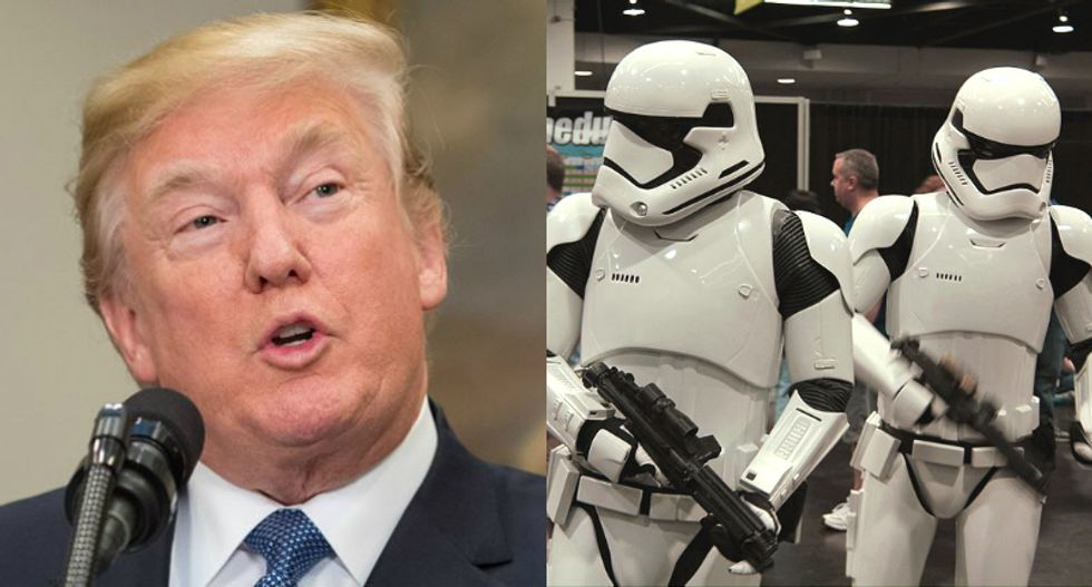 Internet mercilessly mocks 'Cadet bone spurs' Trump for promising 'a new force called the Space Force'