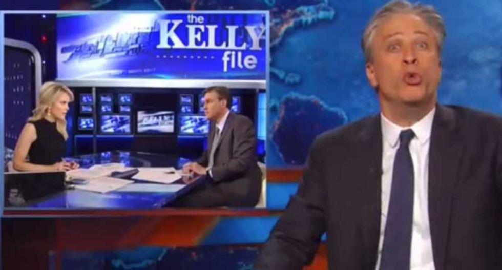 Jon Stewart hammers Megyn Kelly for ignoring billionaires buying GOP candidates 'like Bitcoins'