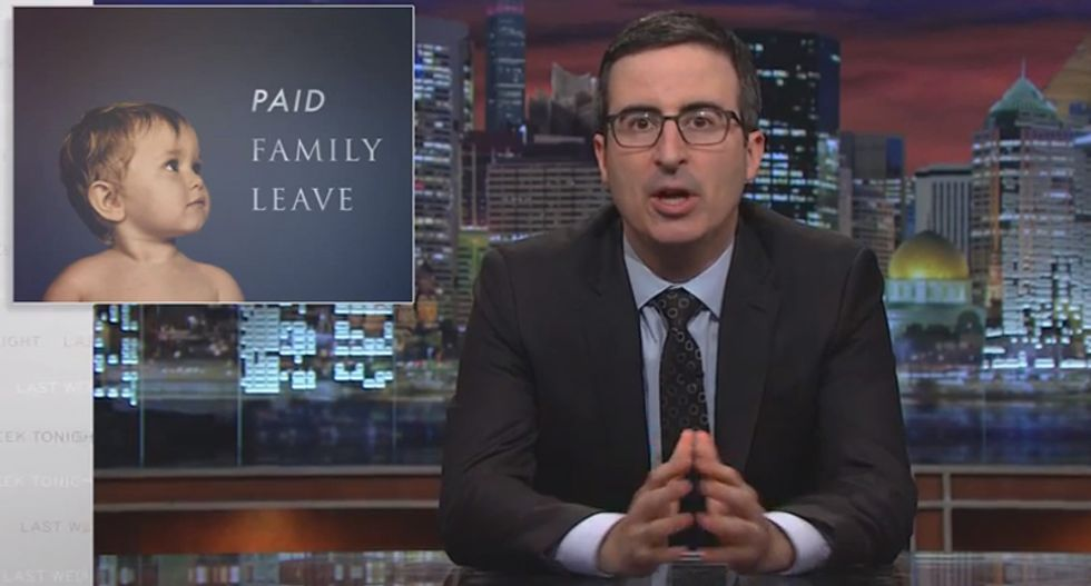 John Oliver on paid time off for mothers: Thanks for having us, mom — now 'get the f*ck back to work'