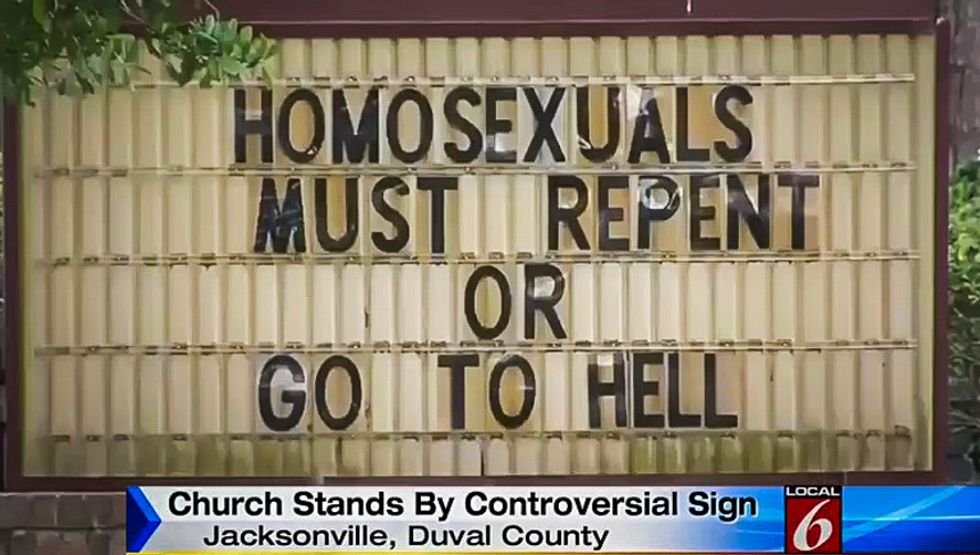 Residents slam Christian 'hate-mongers' after Florida church tells 'homosexuals' to 'repent or go to hell'