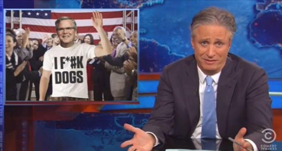 Jon Stewart skewers Jeb Bush: Name-dropping 'W' is like wearing an 'I F*ck Dogs' shirt