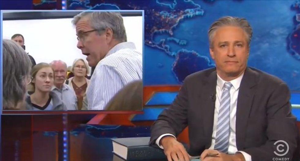 Jon Stewart hammers Jeb Bush's Iraq flip-flop: Was it that hard to distance yourself from 'W'?