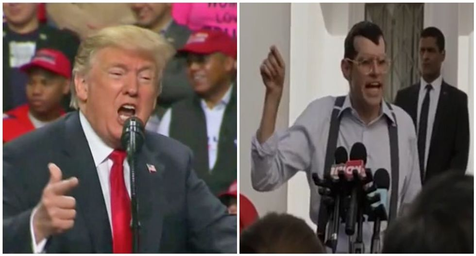 WATCH: Side-by-side comparison shows Trump's rallies are now more absurd than HBO's 'Veep'