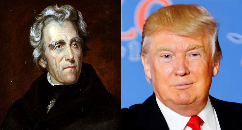 Trump's disturbing resemblance to the dangerously abrasive and disgustingly racist Andrew Jackson