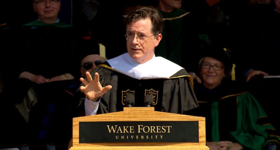 WATCH: Stephen Colbert tells grads to fix racism and pollution -- or prepare for dystopian 'Mad Max' future