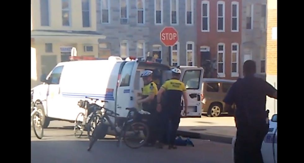Baltimore police take down video showing Freddie Gray going into a van face-down