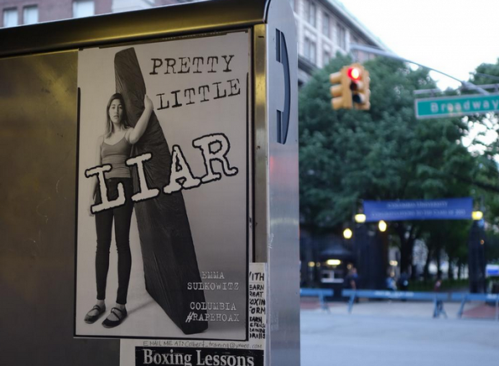 Posters accusing Columbia student of faking her assault mysteriously appear in NYC