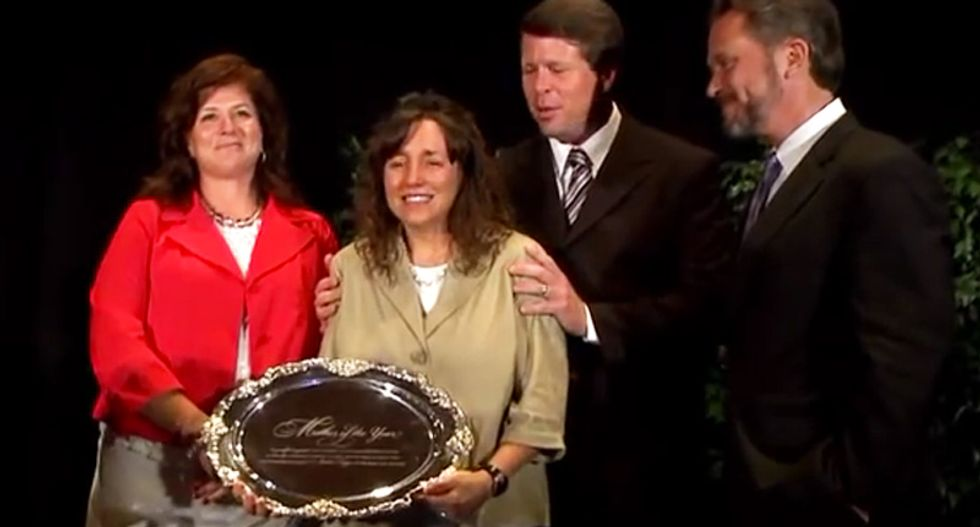 Watch Michelle Duggar accept 'Mother of the Year' award from pastor who resigned for adultery
