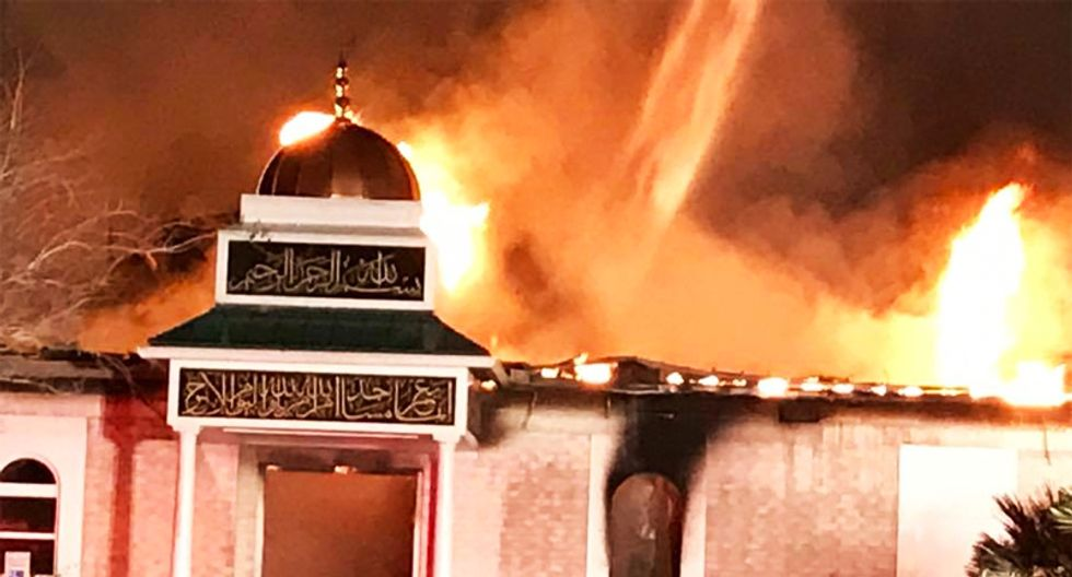 Texas mosque goes up in flames hours after White House announces Muslim ban