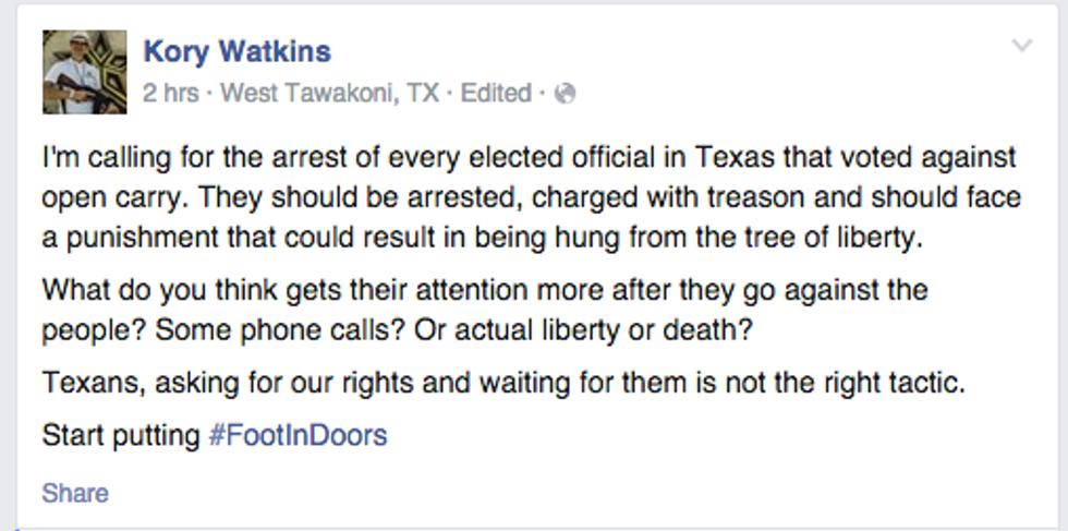 Facebook post by Kory Watkins