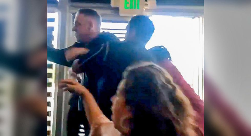 WATCH: Hell breaks loose at restaurant after impatient white customer calls black patron 'monkey man'