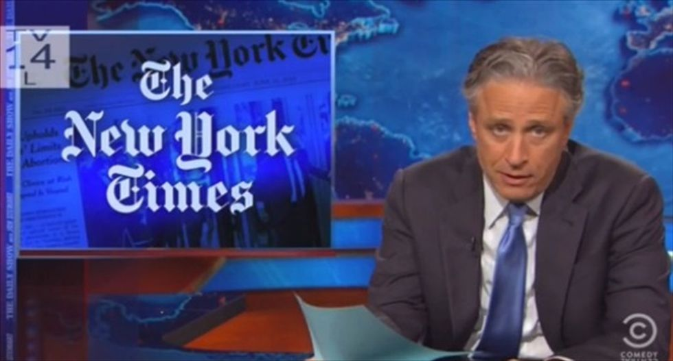 Jon Stewart mocks the NYT for putting petty 'inconsequential gossip' on the front page instead of real news