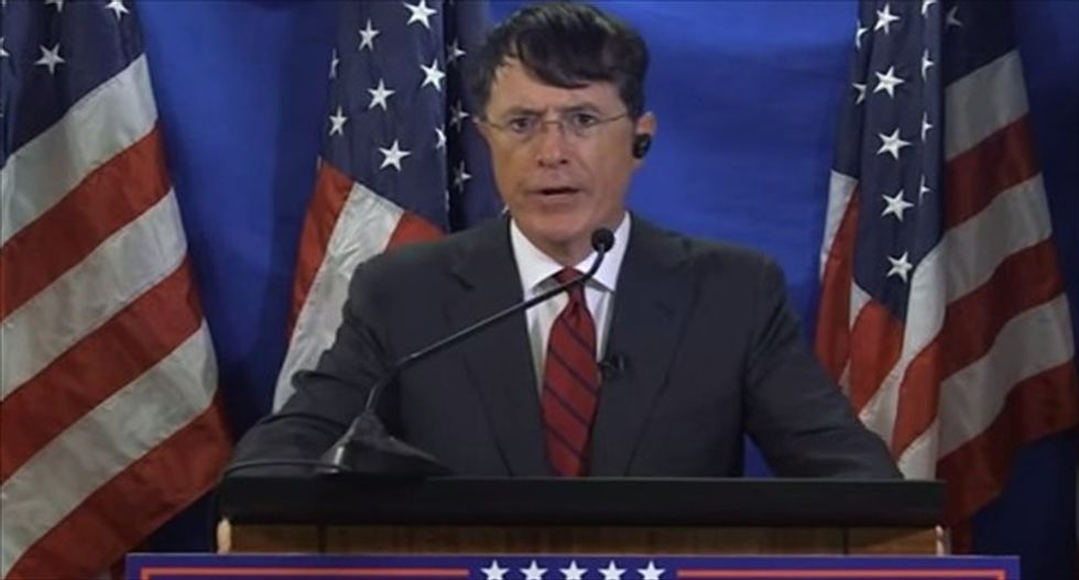 WATCH: Stephen Colbert skewers Donald Trump and his 'gold-plated, diamond-encrusted campaign'
