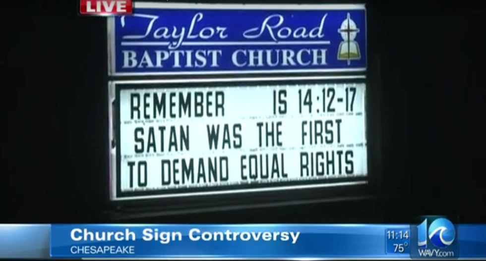 Virginia church sign turns heads with its suggestion that seeking equal rights is satanic