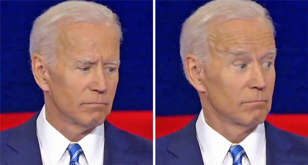Watch Joe Biden's hilarious facial reaction to Bernie's handwaving