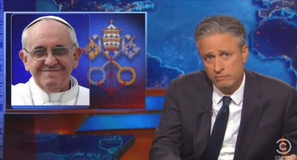 Jon Stewart slams the GOP for whining over the Pope's encyclical on climate change — and it's perfect