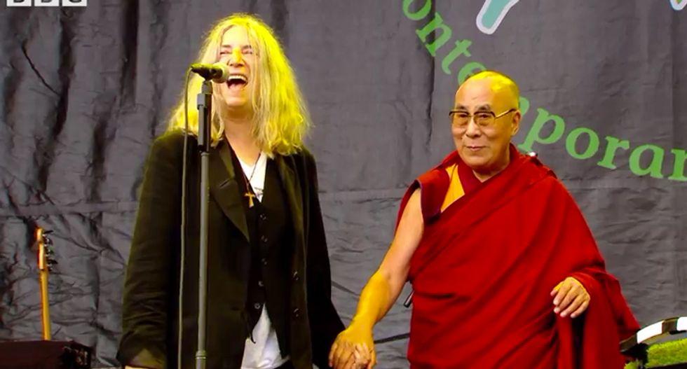 WATCH: Rock icon Patti Smith leads Glastonbury festival crowd singing 'Happy Birthday' to Dalai Lama