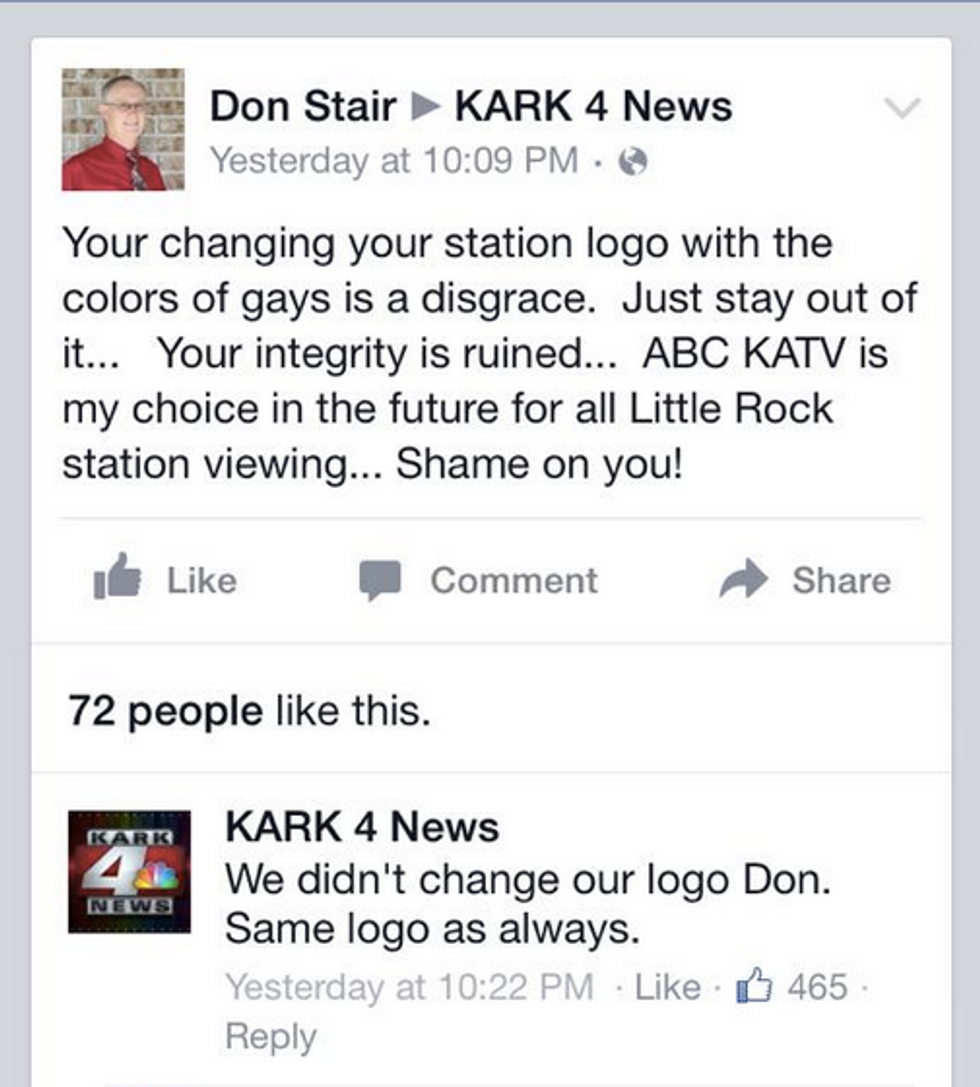 Don Stair's Facebook post (Twitter)