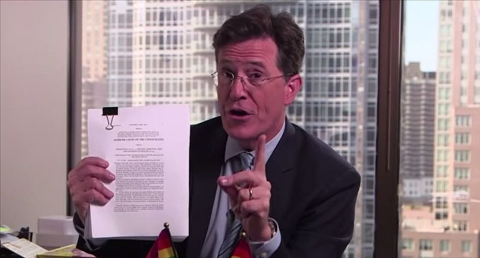 Stephen Colbert roasts Justice Scalia -- then dares him to be a guest on the 'Late Show'