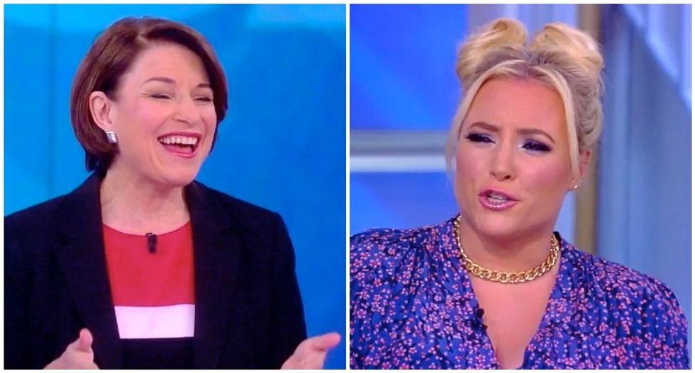 Amy Klobuchar thanks View host for shutting up Meghan McCain so she can speak