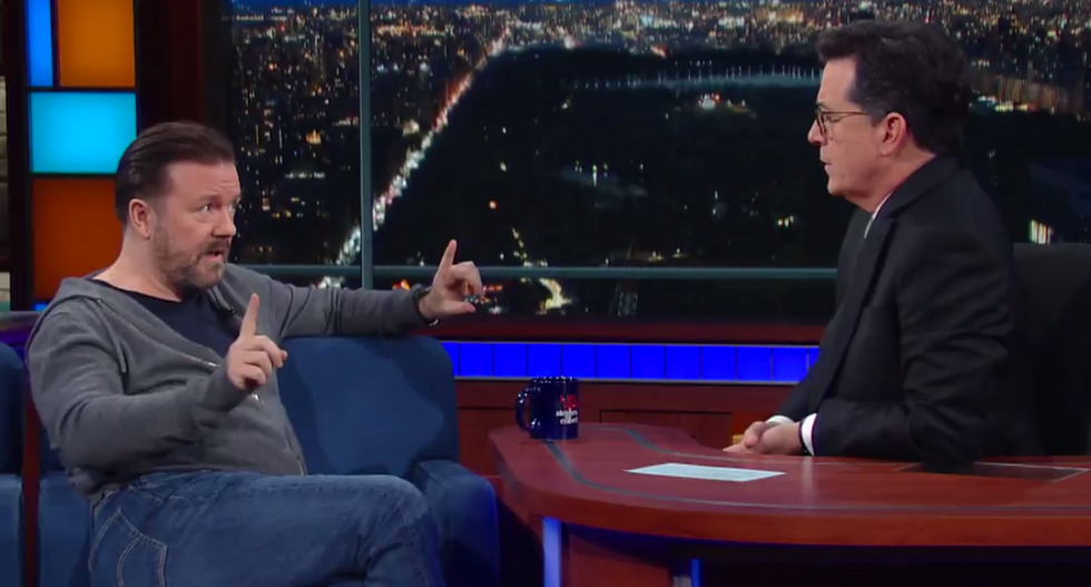 Ricky Gervais perfectly explains difference between science and religion to Colbert in fascinating exchange