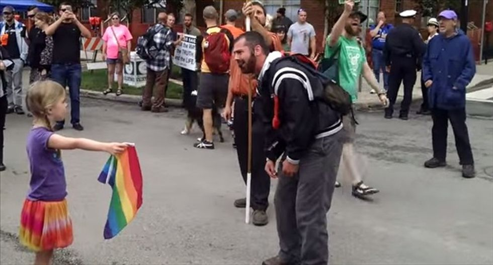 How this amazing 7-year-old Ohio girl left a homophobic street preacher 'deflated'