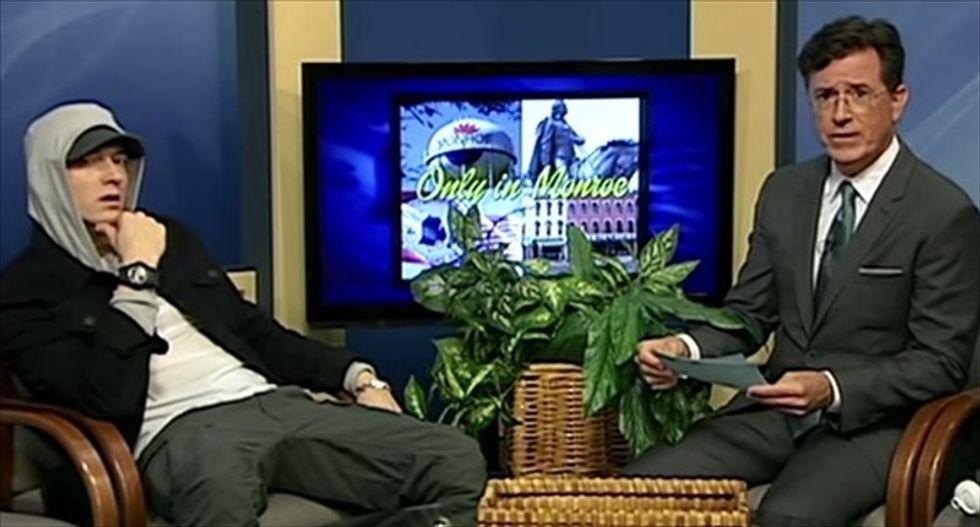 WATCH: Stephen Colbert interviews Eminem in surprise public-access show appearance