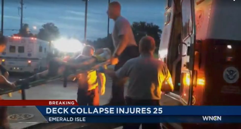 At least 14 hospitalized after deck collapses in North Carolina