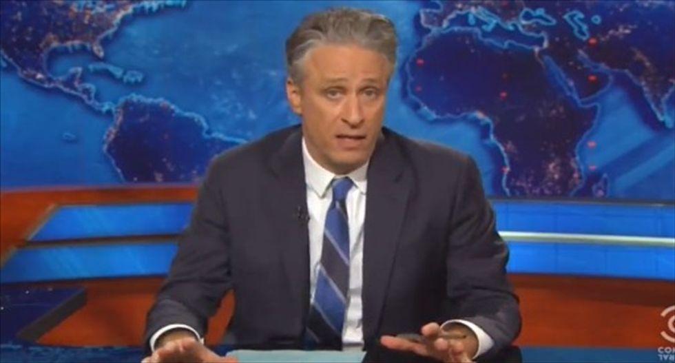 Jon Stewart rips Ted Cruz's 'buzzword-nothing bullsh*t' defense of Trump's anti-immigrant rhetoric