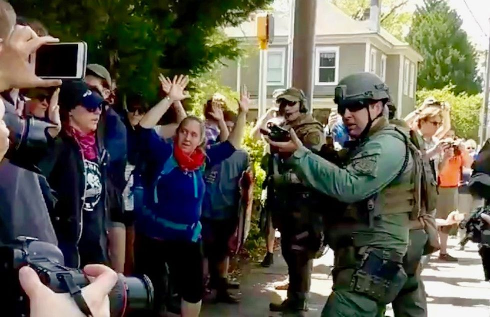 'The most over-aggressive policing I've ever seen': Reporters at Georgia Neo-Nazi rally document cops brutalizing counter-protestors over bandanas