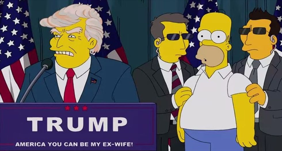 WATCH: 'The Simpsons' skewers Donald Trump in a hair-raising adventure for Homer