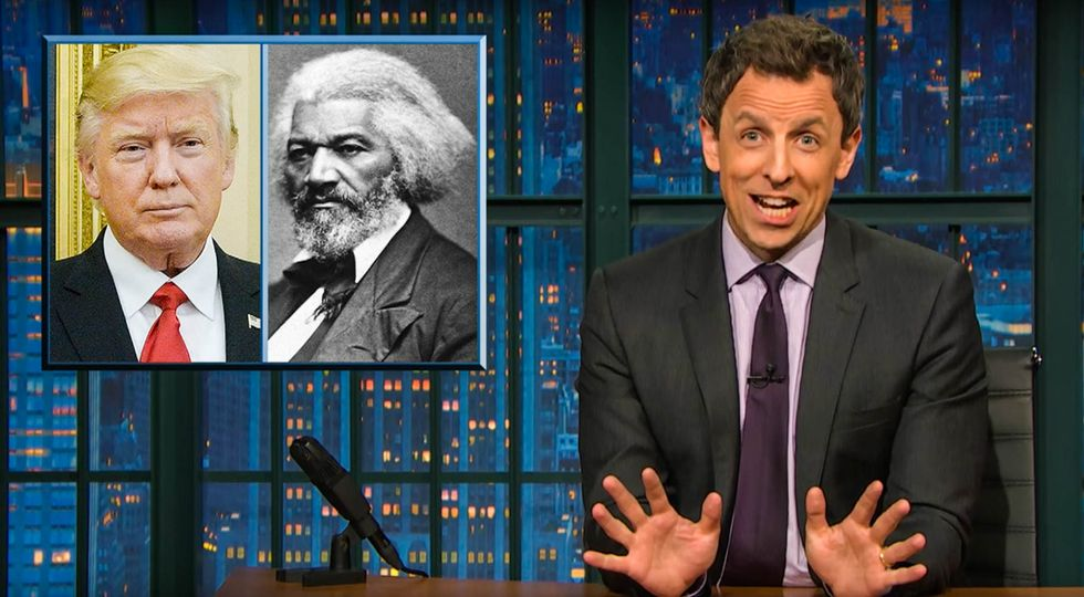 WATCH: Seth Meyers roasts Trump for being too lazy to Google whether Frederick Douglass is still alive