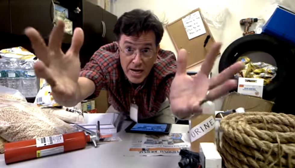 Stephen Colbert prepares to rule the world after NY Stock Exchange meltdown