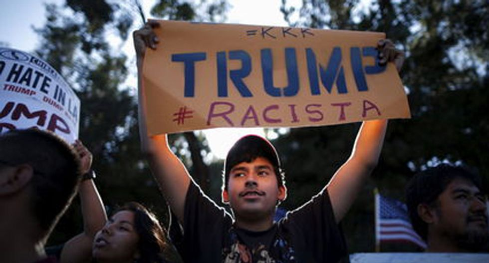 Right-wing Hollywood forum for Donald Trump met with angry immigration protesters