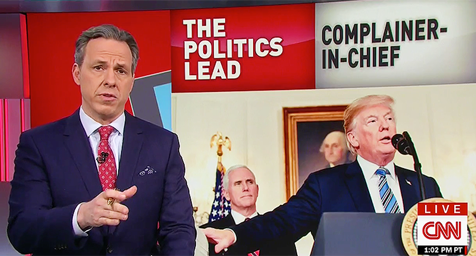 CNN's Jake Tapper delivers expert rebuttal to Trump's 'fake news conference': His 'battle with facts continues'