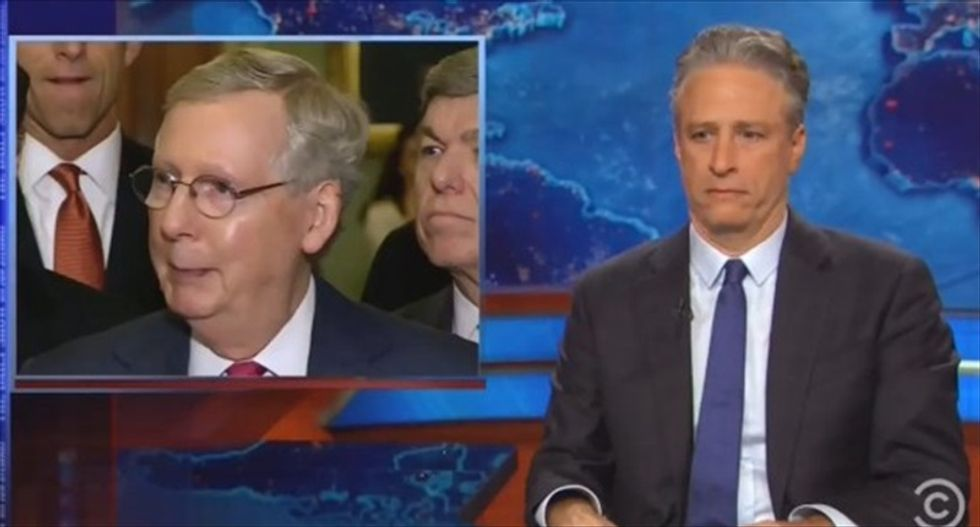 Jon Stewart skewers Mitch McConnell and Senate GOP for hypocrisy on Iran nuclear deal