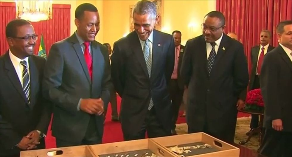 Obama meets 3.2-million-year-old 'grandmother of humanity' during Ethiopia visit