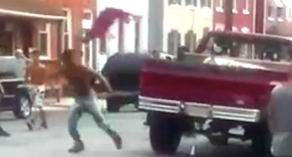 WATCH: Man shouts racial slurs and pulls knife on teens -- so they swipe his Confederate flag