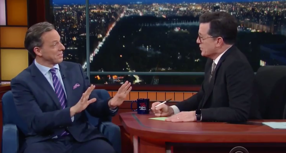 Stephen Colbert hilariously grills Jake Tapper on Trump: 'Why are you so mean to him?'
