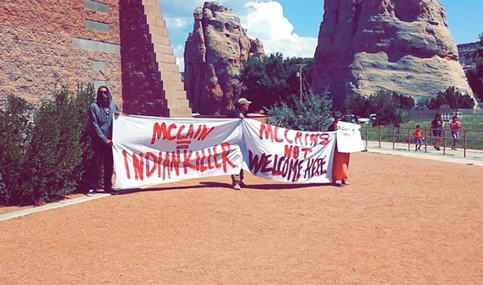 'Get off our land!': John McCain chased off reservation by angry Navajo Nation activists