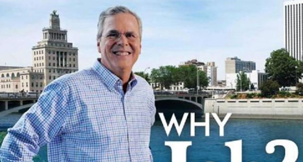 Whoops!:  Super PAC photoshopped Jeb Bush's head onto a black body for campaign flier