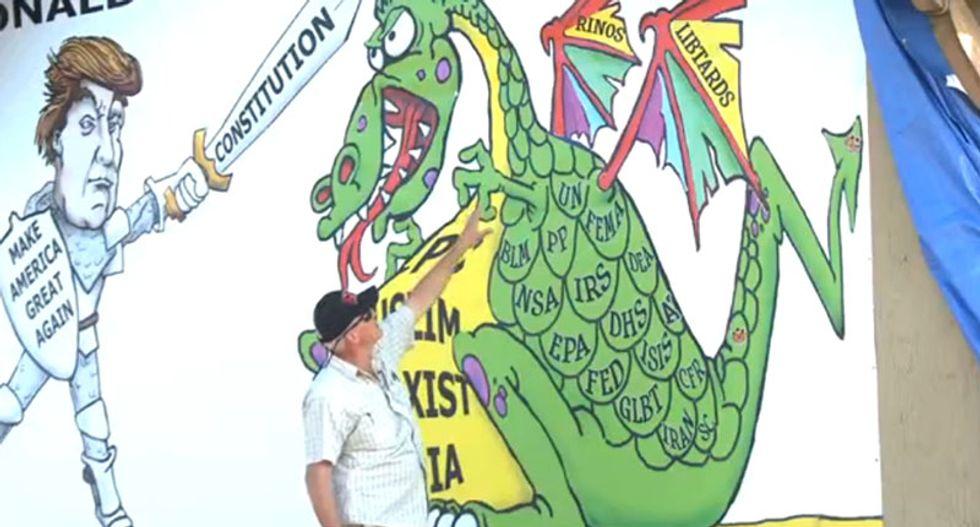 Trump makes America great again by slaying giant 'libtard' dragon in bizarre Colorado billboard