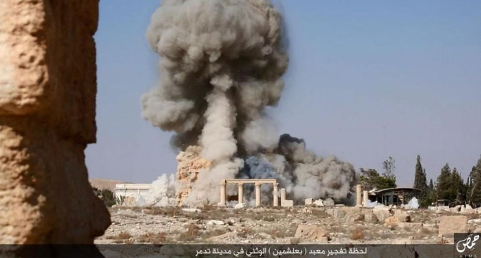 Islamic State publishes images of ancient temple being destroyed in Palmyra