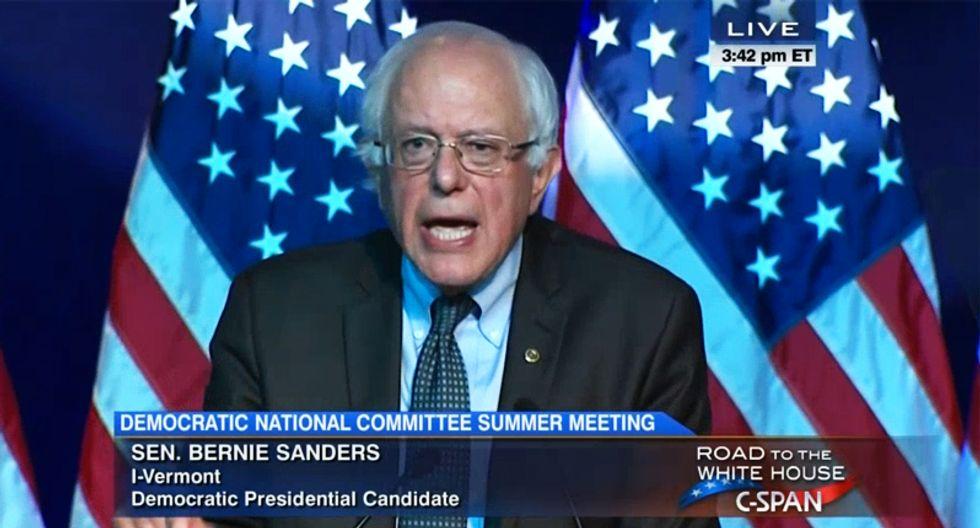 WATCH: Bernie Sanders opens can of whoop-ass on Wall Street and 'billionaire class' in fiery DNC speech