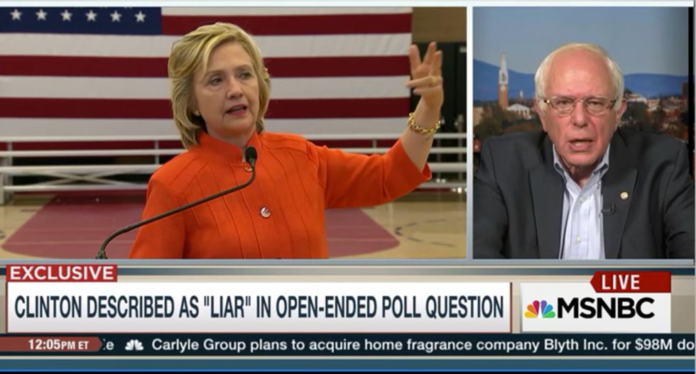 Bernie Sanders egged on by MSNBC to criticize Clinton -- but he refuses to take the bait