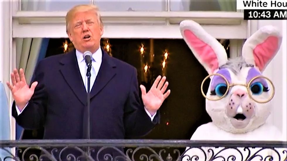 WATCH: Trump bizarrely boasts about the strength of the military to children at White House Easter Egg Roll