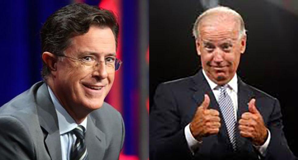 Joe Biden tells Stephen Colbert: You run for president in 2016 and I'll be your VP