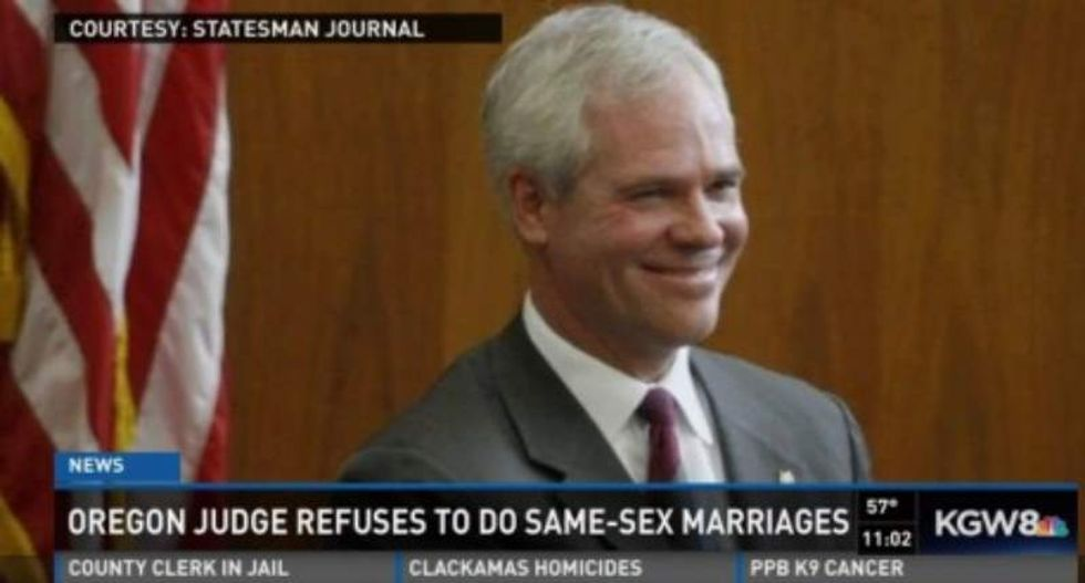 Oregon judge who won't perform same-sex marriages allegedly hung Hitler picture in courthouse