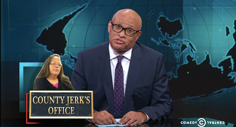 Larry Wilmore roasts Kim Davis: 'If speaking her mind hurts other people, that's not brave -- it's bullsh*t'