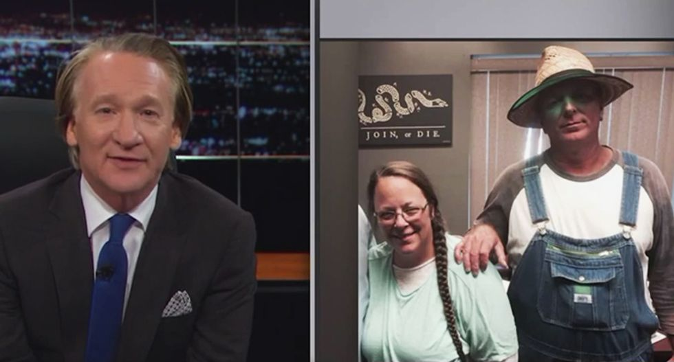 Watch: Bill Maher mocks Kim Davis' husband for showing up for her jail release dressed like a 'scarecrow'